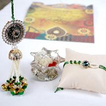 Heavy Pearl Work bhaiya Bhabhi Set: Rakhi for Bhaiya Bhabhi USA