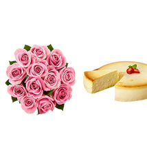 NY Cheescake with Pink Roses: Flowers & Cakes Dallas