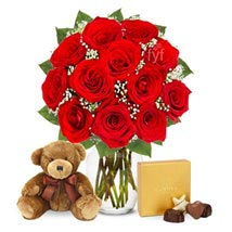 One Dozen Roses with Godiva Chocolates and Bear: Send Anniversary Flowers to USA