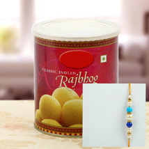 Rajbhog with Multy Color Pearl Rakhi: Rakhi to Detroit