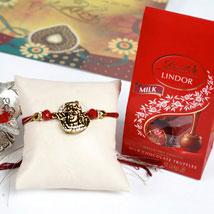 Shiva Rakhi with Lindor Milk Truffles Pack: Send Rakhi & Chocolates to USA
