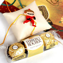 Superhero Rakhi With Rocher: Rakhi to Raleigh