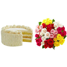 Vanilla Cake with Assorted Roses: Cake Delivery in Los Angeles
