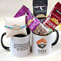 Veera Rakhi with Mug and Nuts: Rakhi to Detroit