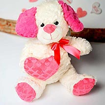 White n Pink Puppy Soft Toy: Valentines Day Gifts to Sunnyvale